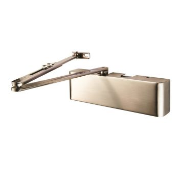 Full Cover Overhead Door Closer Variable Power 2-5 Satin Nickel Plate