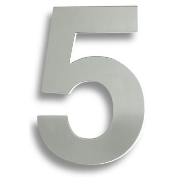 """Stainless Steel 7"""" Numerals (0-9) (Number 5)"""