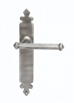 Hand Forged Pewter Tudor Lever on Latch Backplate