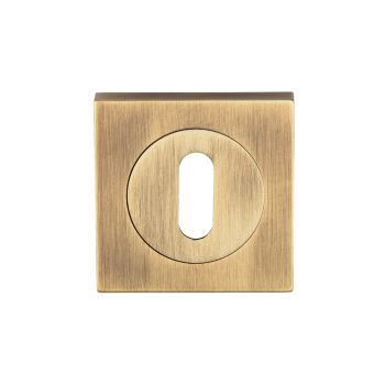 Serozzetta Square Standard Lock Escutcheon Antique Brass